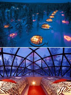 Glass igloos at Finland's Kakslauttanen Hotel, designed for watching northern lights.