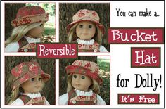 Free PDF pattern for a Bucket Hat to fit AG dolls NewsletterSubscriber Bundle: Dolly Bucket Hat