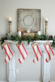 Grand Design: 3 Christmas mantles tin tiles, grand designs, christmas fireplace, fireplace mantels, christmas decorations, candy canes, christmas stockings, christmas mantles, christmas mantels