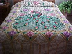Vibrant color peacock cotton chenille bedspread