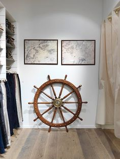 Ships Wheel and Two Maps ship wheel decor, man closet, maps, captain ship, dream hous, boat, nautical chic, nautic nice, anchor