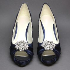 Navy and silver wedding shoes