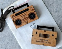 Cool wooden necklaces: Boom box wooden necklace on Cool Mom Tech