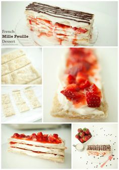 French Mille Feuille Dessert Recipe / made with puff pastry Puff Pastry Dessert Recipes, French Mill, French Pastry Recipes, Feuill Dessert, French Dessert Recipes, Puff Pastries, Mille Feuille Recipe, Dessert Pastry Recipes, Mill Feuill
