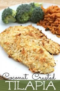 Six Sisters Coconut Crusted Tilapia Recipe. So easy to make. You will love this recipe. #sixsistersstuff