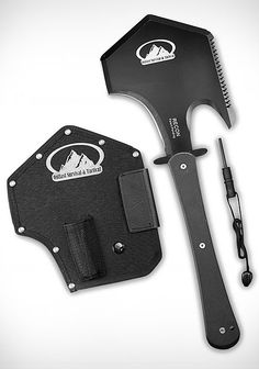 PS Products Recon Survival & Tactical Stainless Steel Axe with Sheath & Firestarter, Black