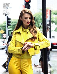 Cintia Dicker models, glamour brazil, street styles, fashion editorials, leather jackets, yellow, optimism, cintia dicker, march 2013