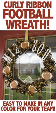 Football wreath using curly ribbon. Perfect for any team colors or sport!