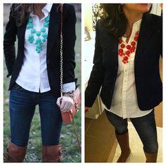 white shirt, black blazer, and brown boots!  LOVE!