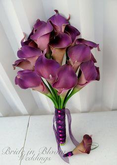 Calla lily Wedding bouquet plum purple by BrideinBloomWeddings
