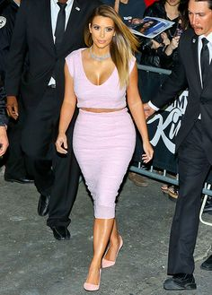 For her appearance on Jimmy Kimmel Live, Kim Kardashian had her Dior dress cut into a crop top and skirt combo.