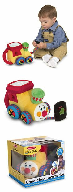 Choo Choo Locomotive includes an attached, single-button remote that offers a big reward for practicing motor skills and finger-strength: Simply press the button through the velvety plush covering, and the train chugs into action!