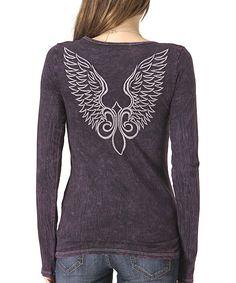 Wine Angel Wings V-Neck Tee