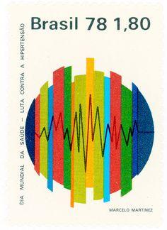 Brazil postage stamp: electrocardiogram