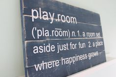 "Playroom Definition Solid Wood Sign - Modern Nursery Children's Playroom Bedroom Decor. Could add - ""room to play"""
