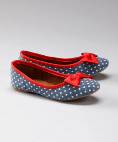 Take a look at this Navy & Red Polka Dot Flat by Blow-Out on #zulily today!