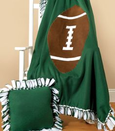 Football Applique No-Sew Fleece Blanket at Joann.com