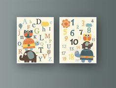Nursery Letters And Nursery Numbers Set of 11x14 by DesignByMaya, $48.00