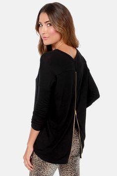 Zip to My Lou Black Sweater Top at LuLus.com! #lulus #holidaywear
