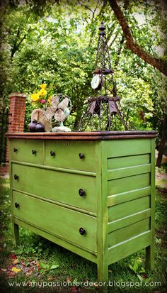 Stunning dresser re-do in Antibes Green.  wow!