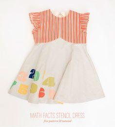 DIY Math Facts Stencil Dress - free sewing pattern & tutorial