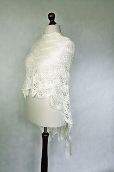 White scarf hand knit shawl wedding scarf white by KnitwearFactory, $134.00