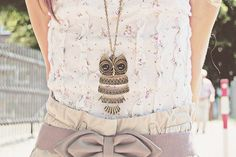 My mom got me this very same necklace for my birthday! I love it! outfits, heart, hands, birthdays, owl jewelry, bows, vintage necklaces, owls, tanks