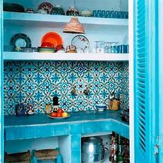 patterned turquoise color palettes, pantri, indian theme, indian summer, pattern, small kitchens, kitchen nook, blue kitchens, kitchen tiles