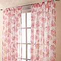 Coral Print Sheer Coral Spice 84-inch Curtain Panel Pair | Overstock.com Shopping - The Best Deals on Sheer Curtains