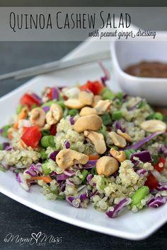 Quinoa Cashew Salad with Peanut Ginger Dressing #quinoa #salad #peanutbutter http://www.mamamiss.com ©2013