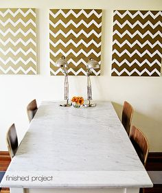 Can't paint your walls or not up for the tedious task? Make DIY chevron paintings instead.