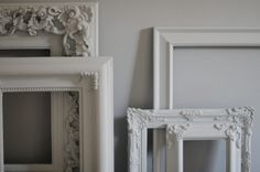 Repainted vintage frames that match walls