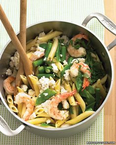 penne with shrimp, feta, and spring vegetables. YUM.