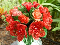 Shades of Red French Beaded Flower