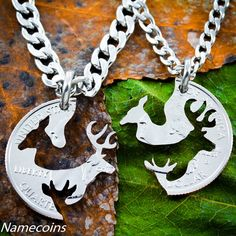 Hunting Necklace, Buck and Doe with child, With Baby Spike deer #hunting - I love this!