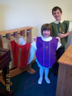 children's Godly play chasubles and chasuble rack