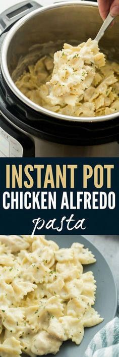 This Instant Pot Chicken Alfredo Pasta is an easy, one pot meal that cooks in record time! It's creamy, comforting and hearty! #RecipesForDinner