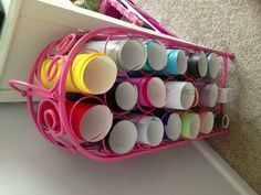 I painted this wine rack to store my PYP vinyl in my craft room.