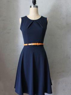 Prim Dress $48 retro inspired fit and flare navy blue dress with modern orange belt