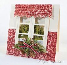 christma card, window scene, christmas windows, kitti card, larg window