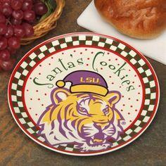 LSU Tigers Santa Ceramic Cookie Plate...Because Santa Claus is a Tiger fan.