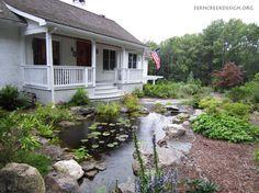 Backyard stream on pinterest backyard waterfalls pond for Front yard pond ideas