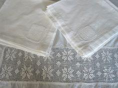 Vintage Filet Crochet Lace Inset Tablecloth Napkins White Precale. $29.00, via Etsy.