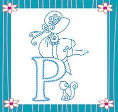 RWSunbonnetAlpha borduren, letra, sun bonnet, sunbonnet sue, patron ii, abecedario, pergamano alphabet, machine embroidery designs, embroideri