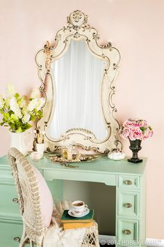 Set up your own vanity set with a beautiful mirror that coordinates with your style.