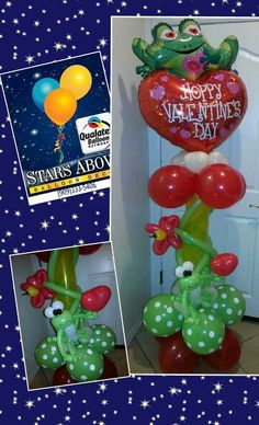 Valentine's day balloons with frogs