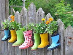 garden planters, cowboy boots, garden ideas, fenc, yard, flower pots, herbs garden, planting flowers, garage sales