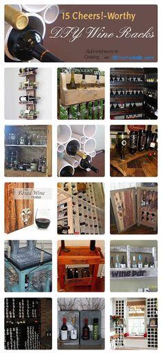 15 {Cheers!-Worthy} DIY Wine Racks | curated by 'Adventures in Creating' blog!