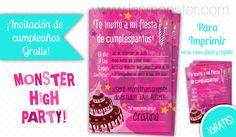 Invitación de cumpleaños Monster High