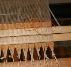 Thrums: It All Comes Out in the Wash... Two stick method for starting a new warp with even tension.